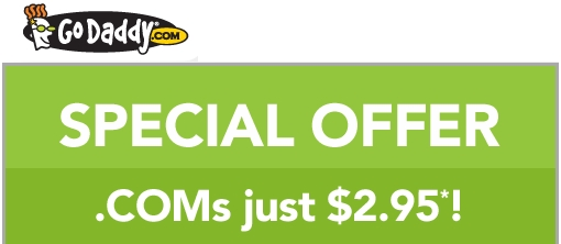 GoDaddy: Get a .COM domain for $2.95