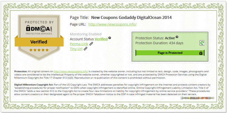 newcoupons.info has DMCA Verified