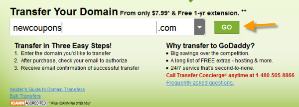 How to transfer a domain to GoDaddy