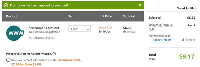 godaddy .net bulk coupon $8.99