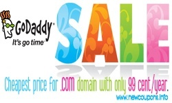 GoDaddy 99 cents domain coupon codes in july 2017
