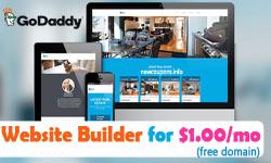 GoDaddy Website Builder Promo Code: $1.00/m – Free Domain.