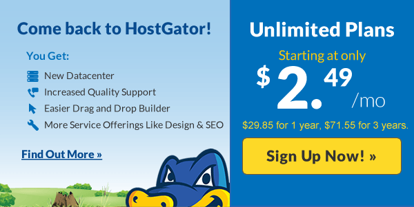 HostGator coupon save up to 75% on new hosting.