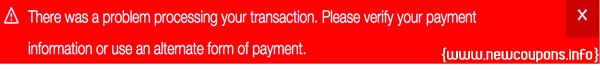 The Error Message at GoDaddy When Make a Payment.
