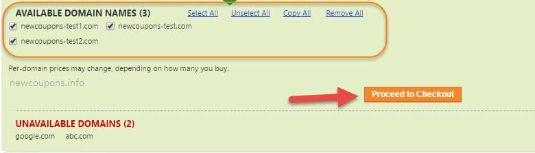 godaddy bulk domain name search result
