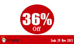 GoDaddy Coupon Save 36% for Dec 2015 !