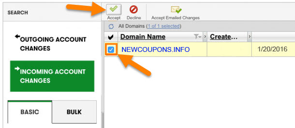 2 - Accepting a Domain Name into Your Account
