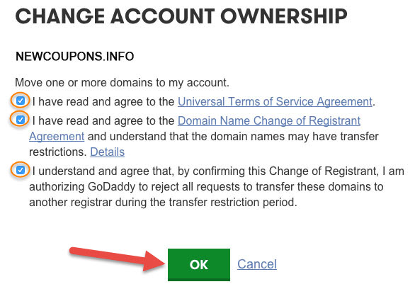 3 - Accepting a Domain Name into Your Account