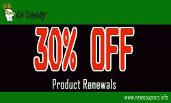 GoDaddy Coupon 30% off Renewals