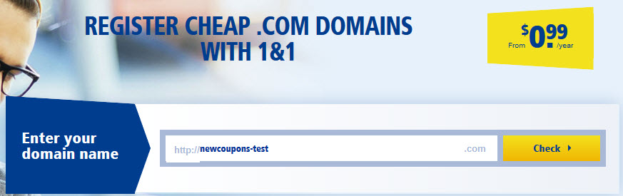 Cheap .Com domain with 99 cent at 1&1