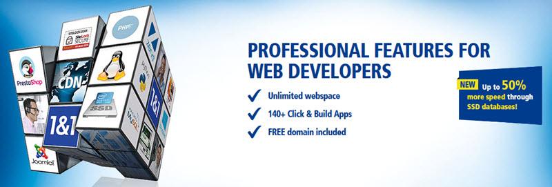 1&1 Web hosting starting at $0.99, Free domain