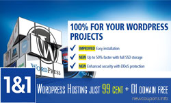 1&1 WordPress Hosting Coupon in Sept. 2018 – $0.99 plus Free Domain