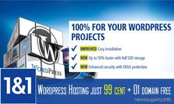 1&1 WordPress Hosting 99 cent, 01 domain free