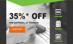 GoDaddy new coupon save 35% new purchases