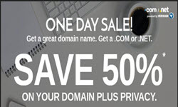 Domain.Com Promotion: 50% off .Com & .Net + Free Domain Privacy