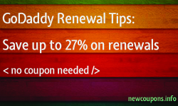GoDaddy Renewal Tips for save up to 27%, no coupon needed.