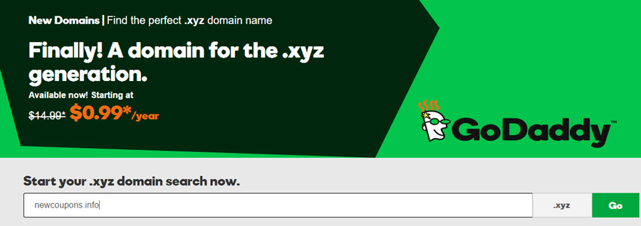 godaddy xyz coupon 99 cent