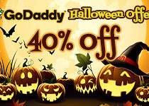GoDaddy Save 40% for Halloween 2016