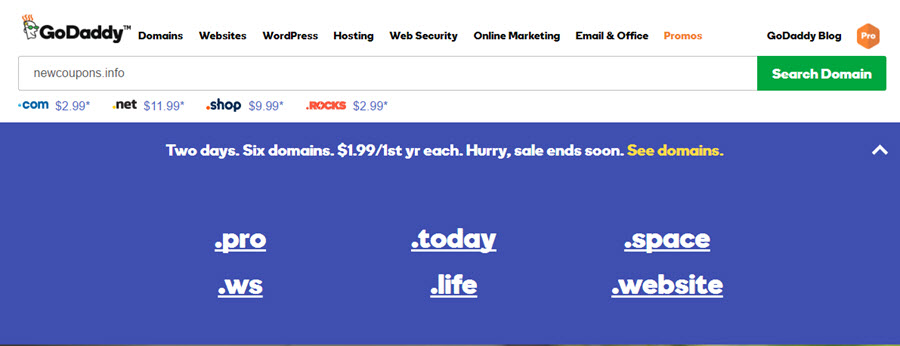 Godaddy domain name coupon 2018