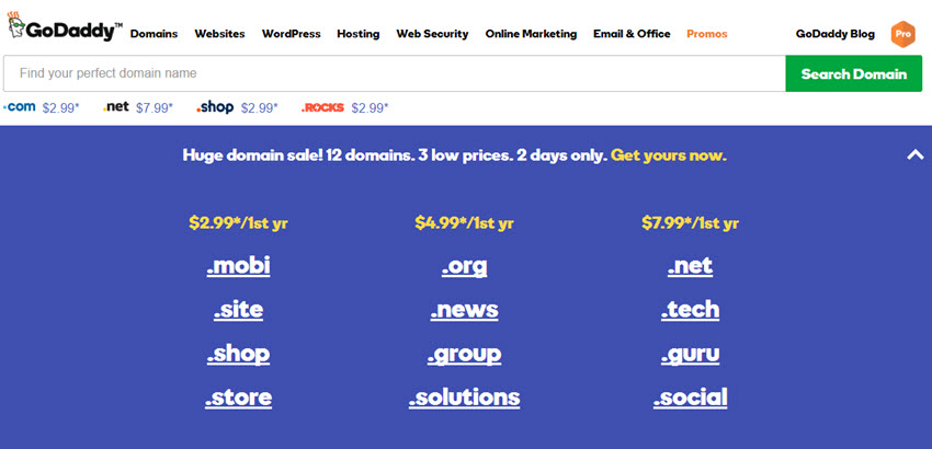 GoDaddy Huge Domain Sale, 12 Domains, 3 Low Pries.