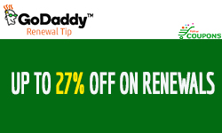 GoDaddy renewal tip for save up to 27% on renewals