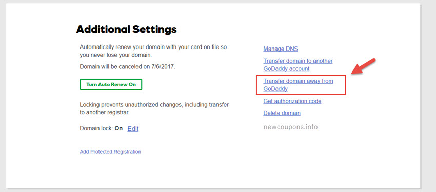 Step 2: Click to Transfer domain away from GoDaddy