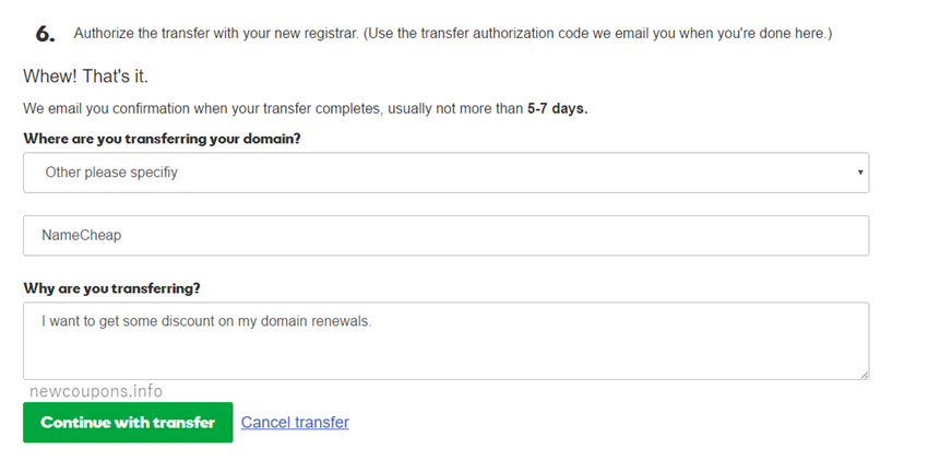 Step 3: Complete the fields needed to transfer domain out