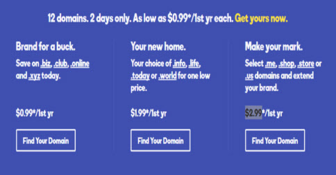 GoDaddy Flash Sale: Register unlimited domains just from $.99/year