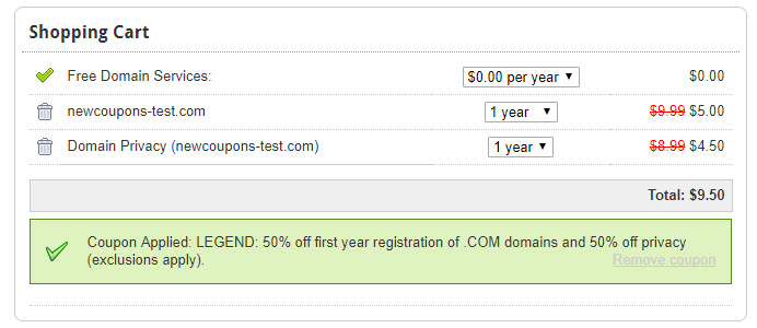 domain.com save 50% com registration, com domain privacy