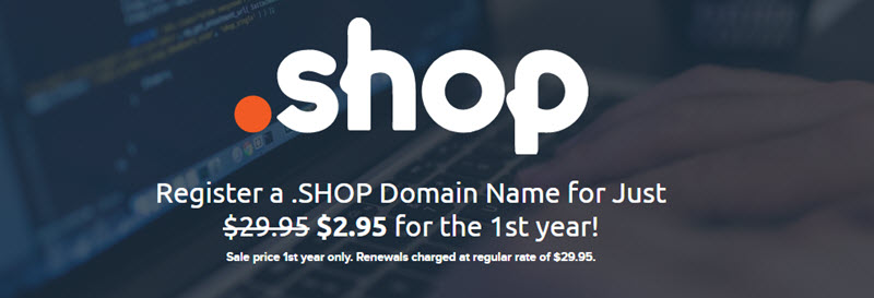 dreamhost reduced the .SHOP domain to just $2.95