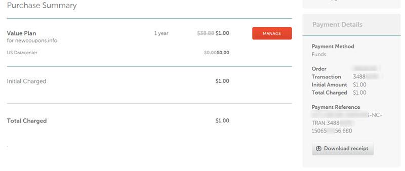 namecheap $1 hosting proof