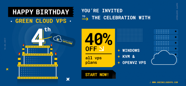 GreenCloudVPS 4th Birthday Offer: Up to 40% off recurring