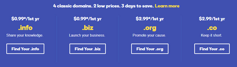 GoDaddy Discount 04 Classic Domains From $0.99/1st Year !