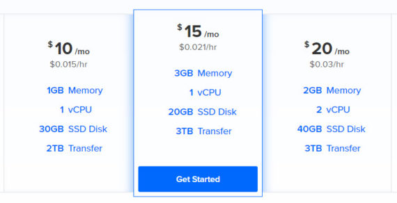 DigitalOcean launches a new package pricing – $15/mo w/ 3GB RAM