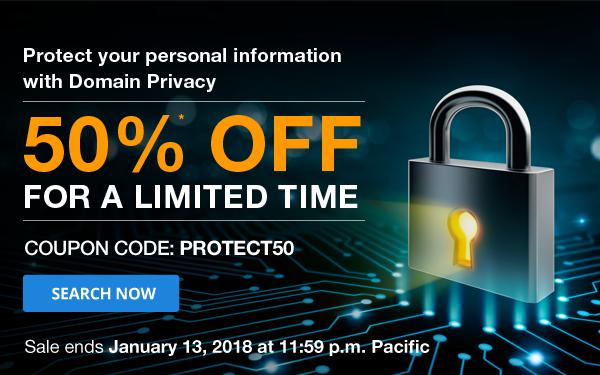 Save 50% Domain Privacy at Domain.Com