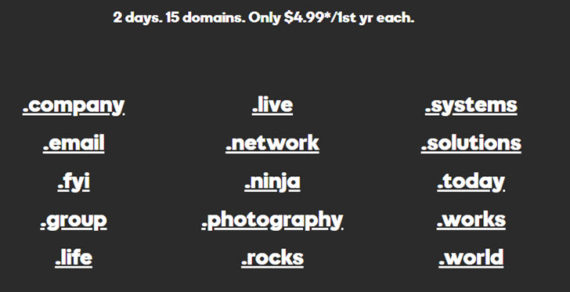 Register 15 Domains – $4.99/Year Each For 2 Days at GoDaddy
