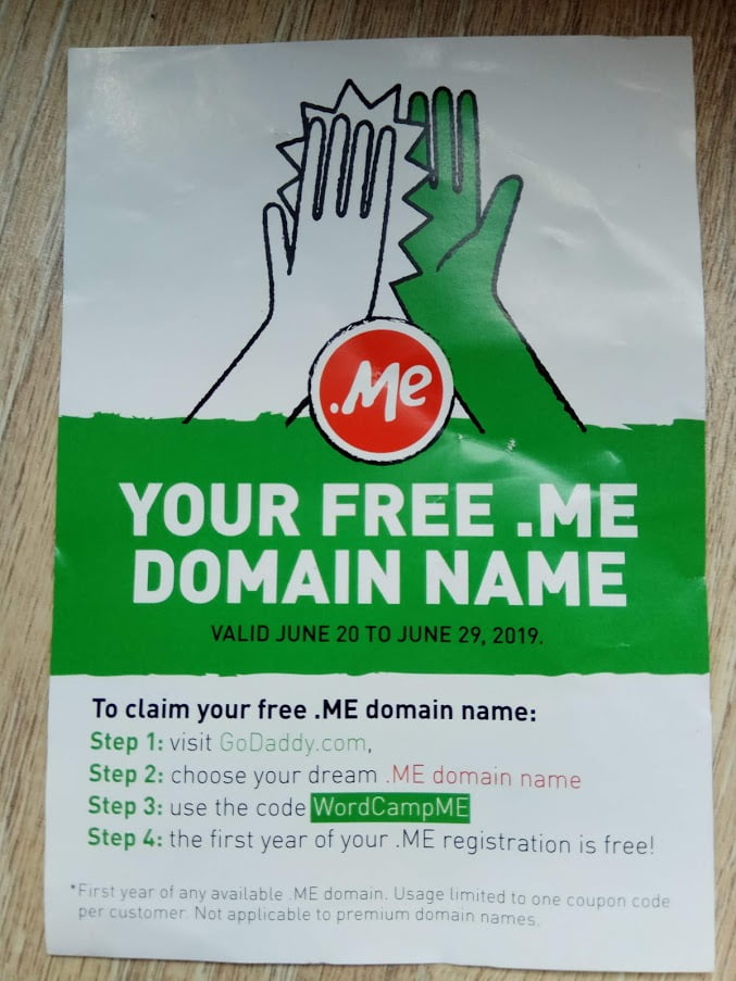 free .me domain name at godaddy